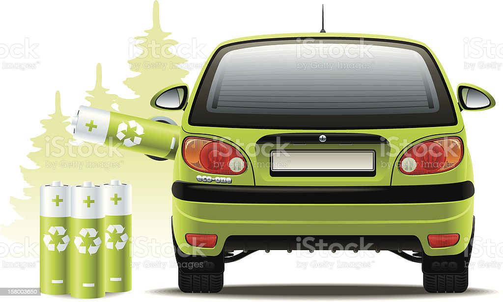 Electric car recharges vector art illustration