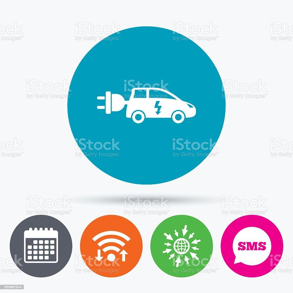 Electric car sign icon. Hatchback symbol. vector art illustration