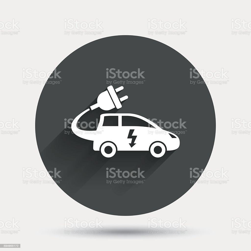 Electric Car Sign Icon Hatchback Symbol Stock Vector Art 594955172
