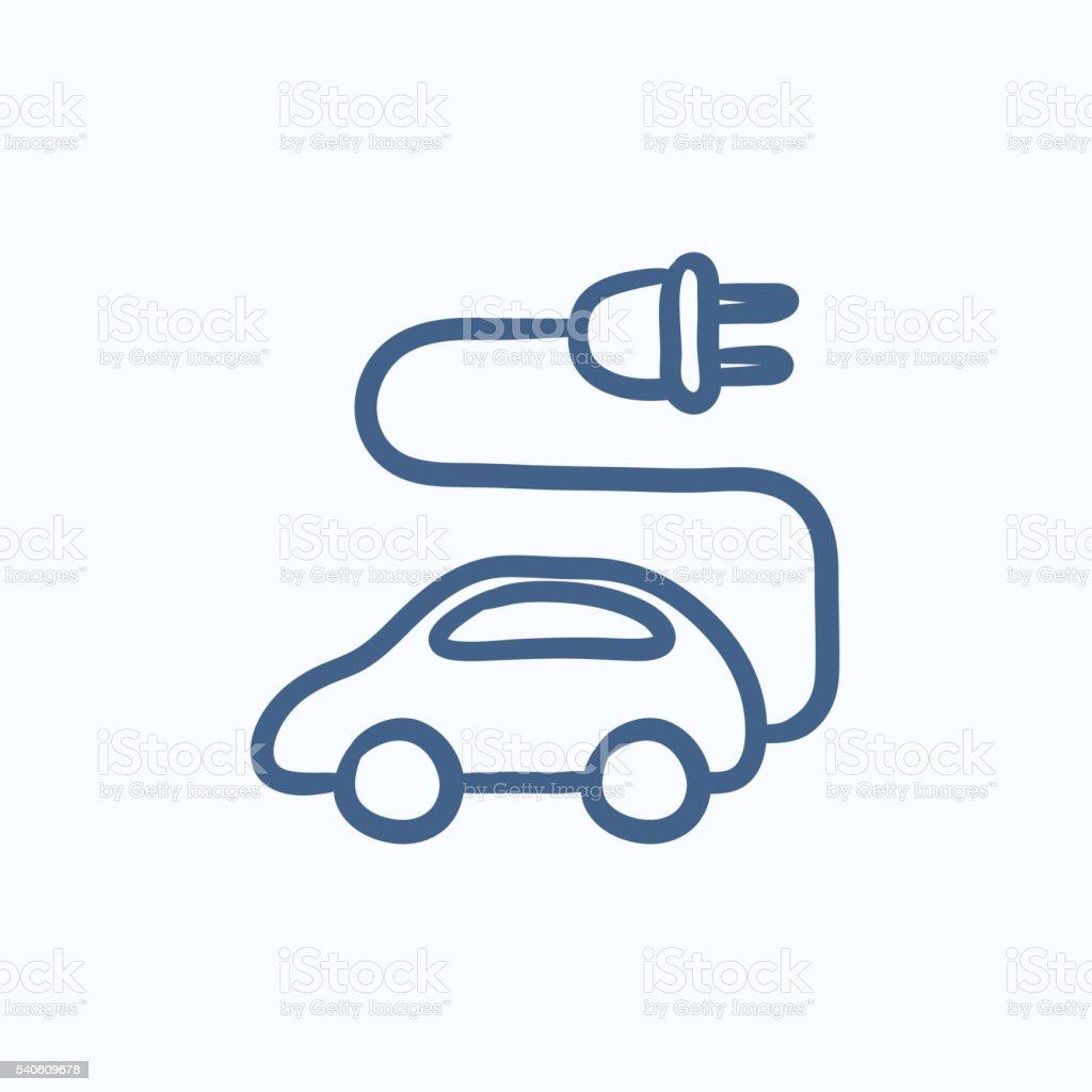 Electric car sketch icon. vector art illustration