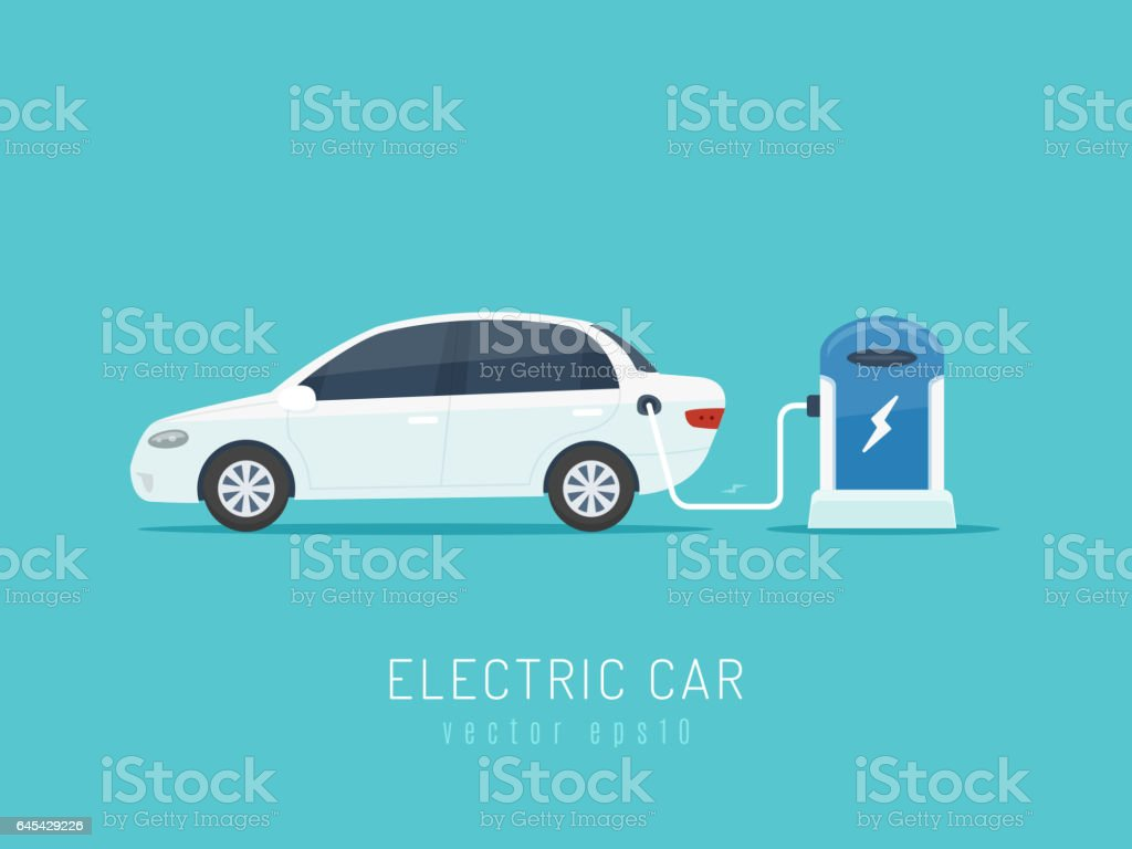 Electric Car vector art illustration