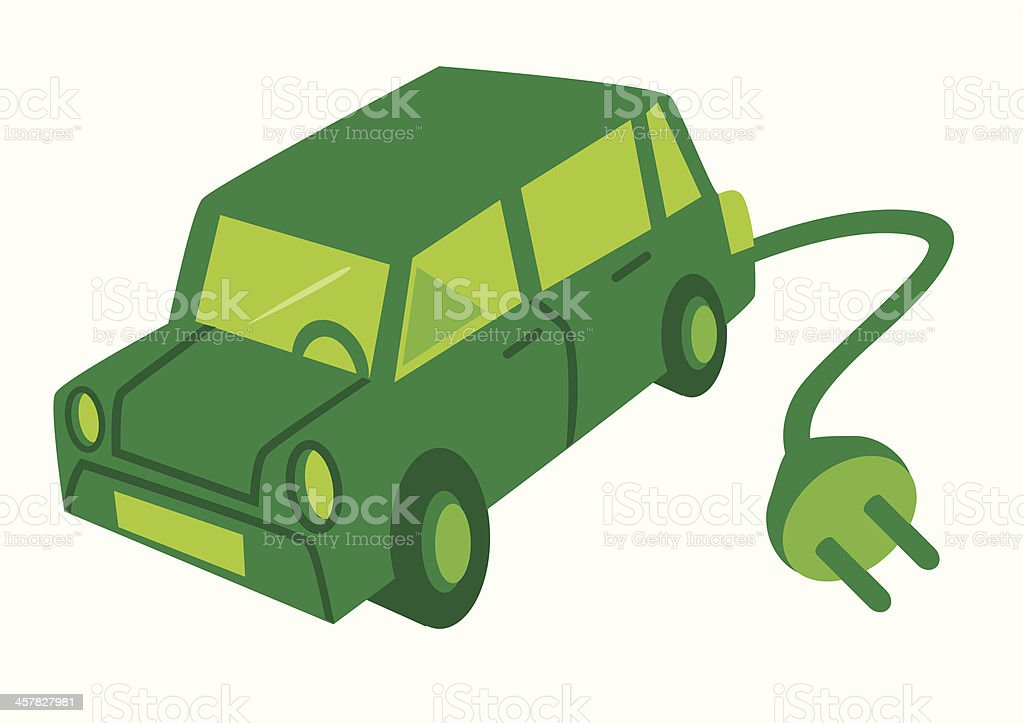 Electric car with a green plug. royalty-free stock vector art