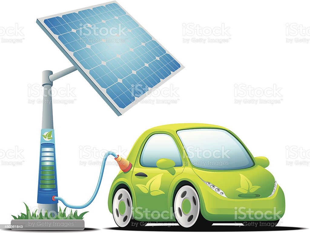 Electric car with a solar charging station vector art illustration