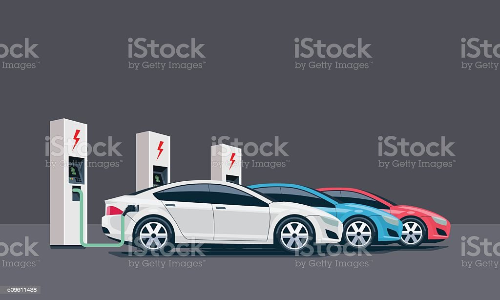 Electric Cars Charging at the Charging Station vector art illustration