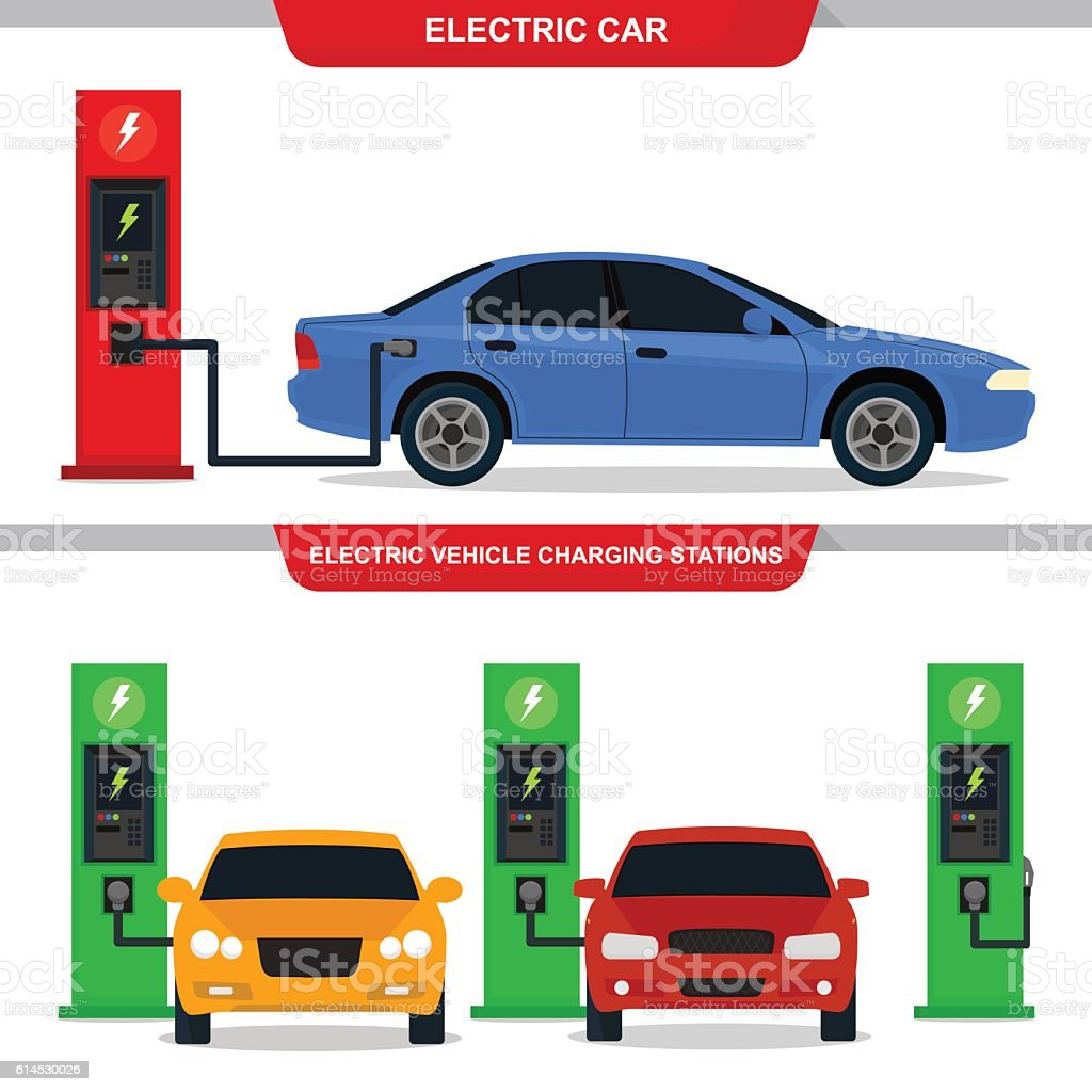 Electric cars vector art illustration
