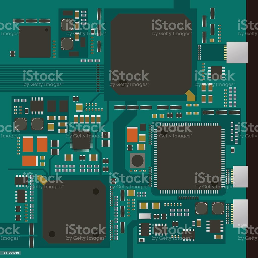 electric circuit board, various IC chips and electronic components vector art illustration
