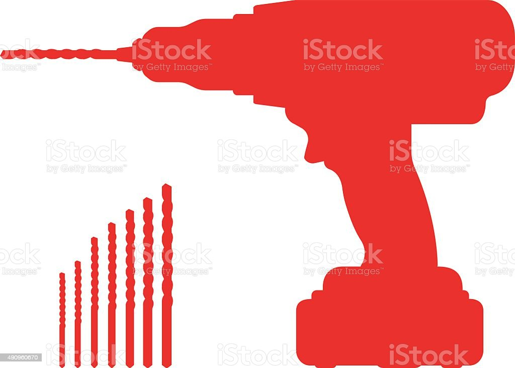 Electric cordless hand drill silhouette with bits vector art illustration