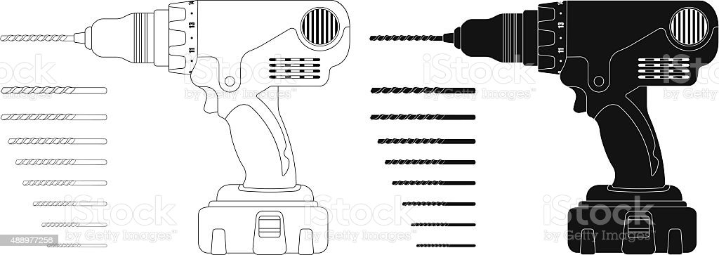 Electric cordless hand drill with bits. Contour, silhouette vector art illustration