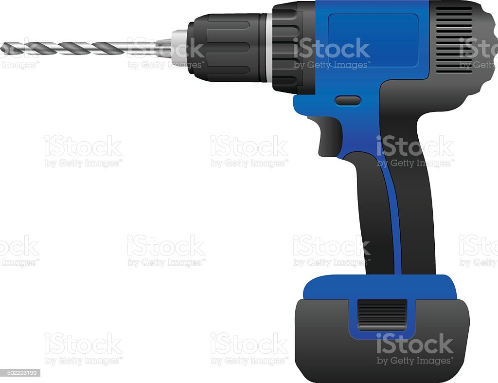 Electric drill and bit vector art illustration