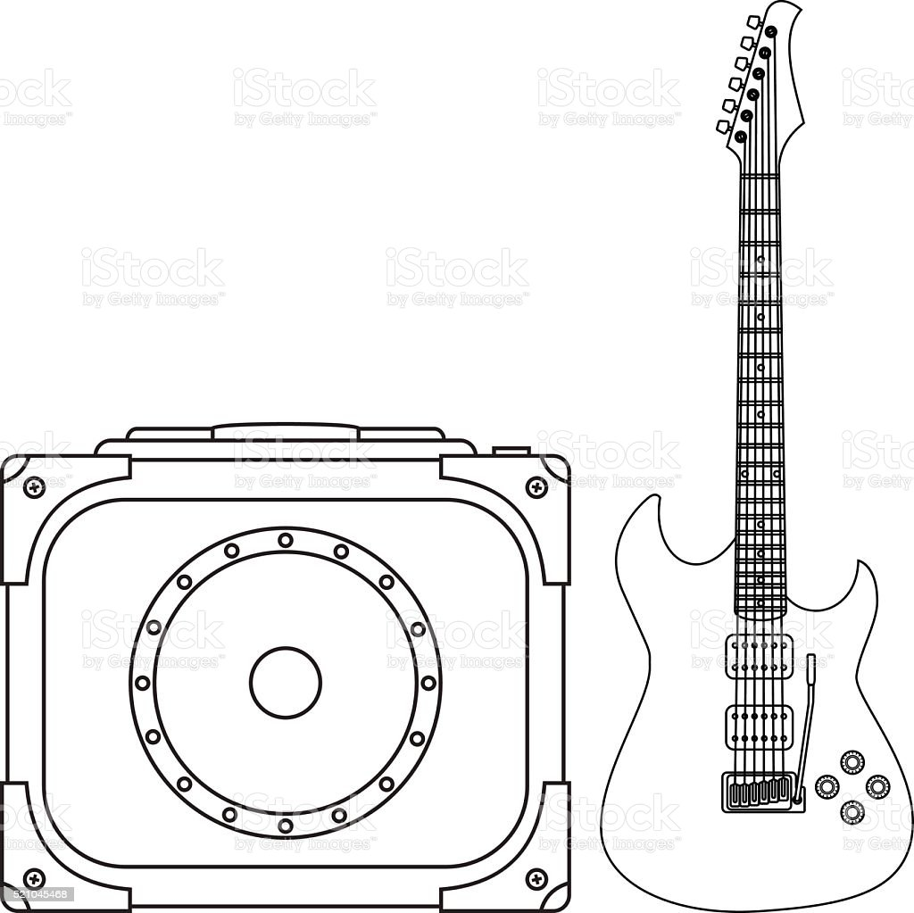 Electric Guitar and Amplifier vector art illustration