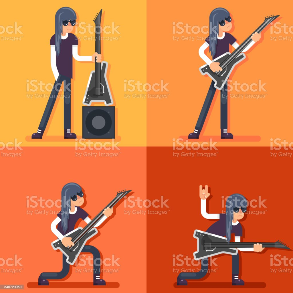 Electric Guitar Icon Guitarist Hard Rock Heavy Folk Music Background vector art illustration