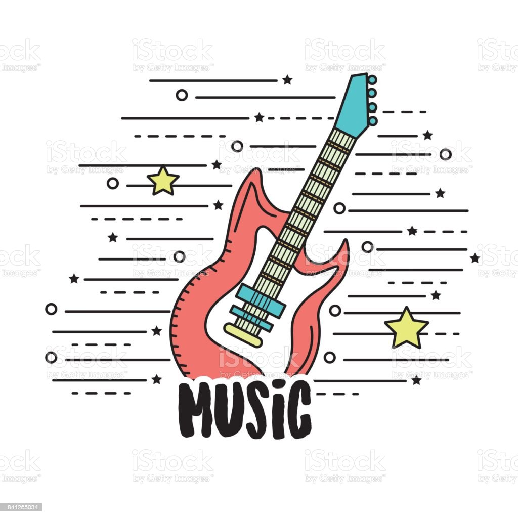 electric guitar musical instrument to play music vector art illustration