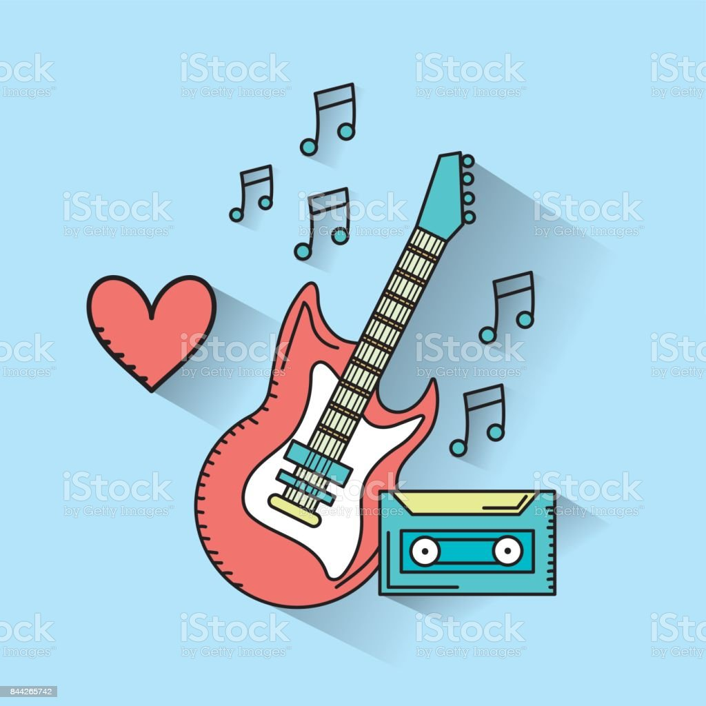 electric guitar musical instruments and cassette to play music vector art illustration