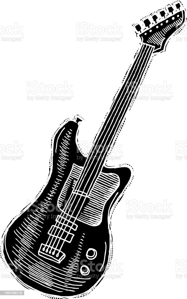 Electric Guitar reverse ink vector art illustration