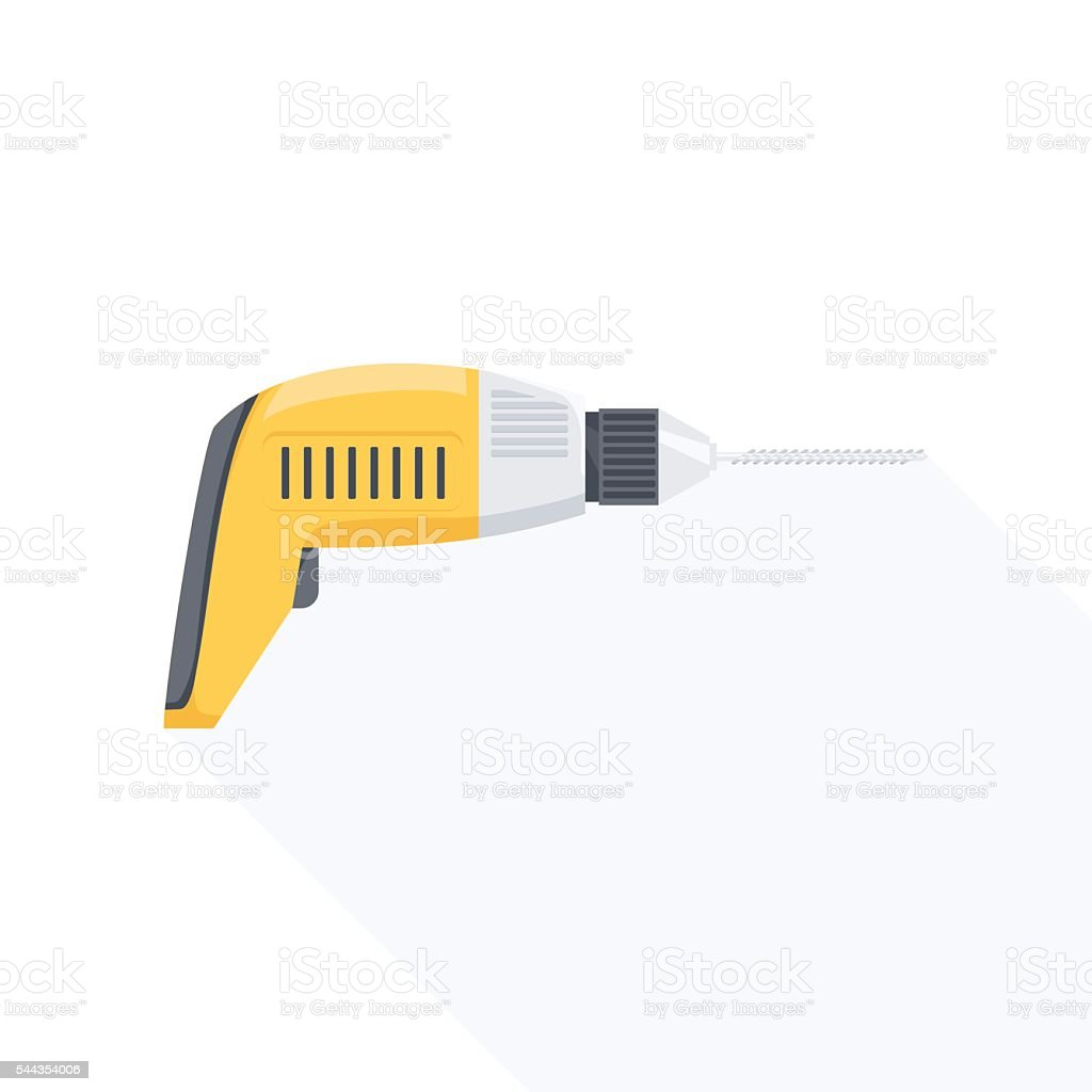 Electric hand drill flat icon with long shadow. vector art illustration