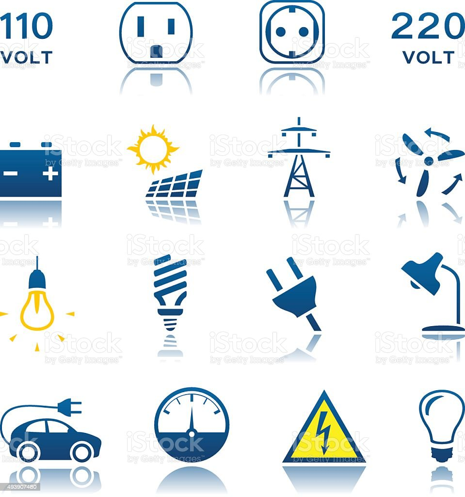 Electric icon set vector art illustration