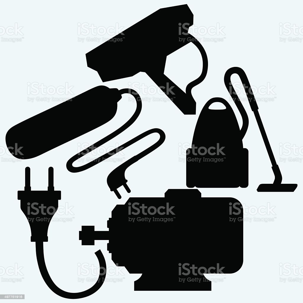 Electric motor, power surge, vacuum cleaner and outdoor surveillance camera vector art illustration