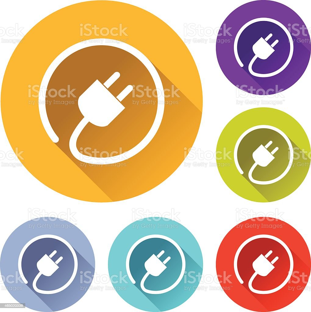 electric plug icons vector art illustration