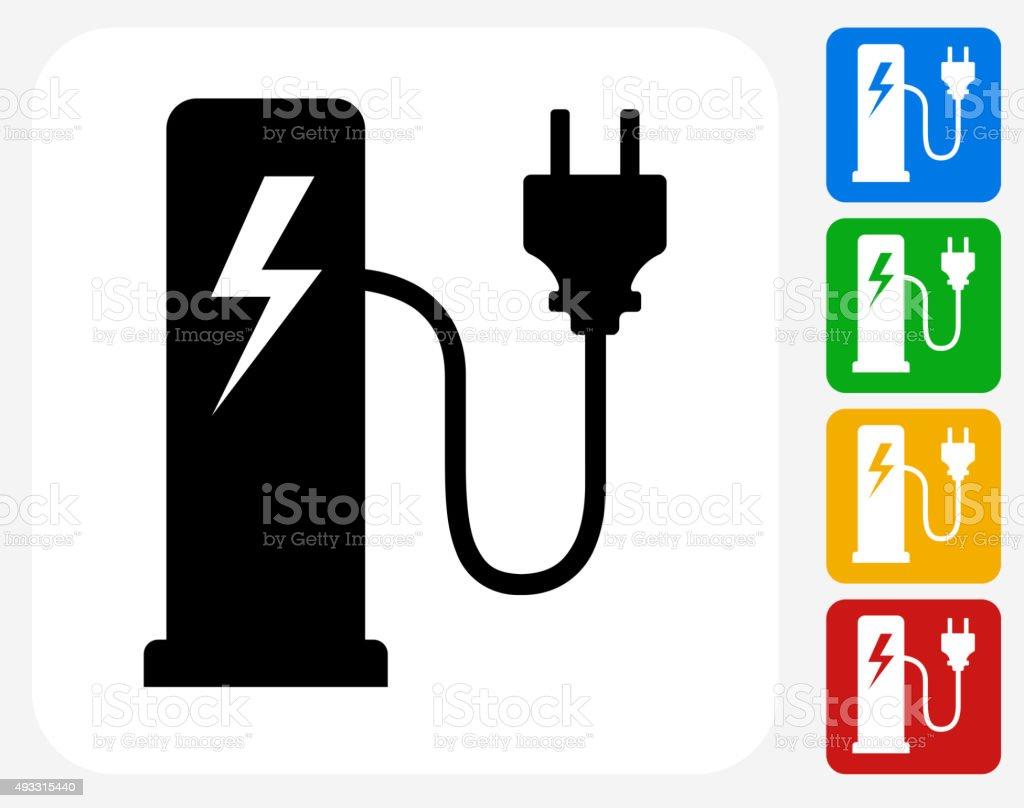 Electric Plug Station Icon Flat Graphic Design vector art illustration