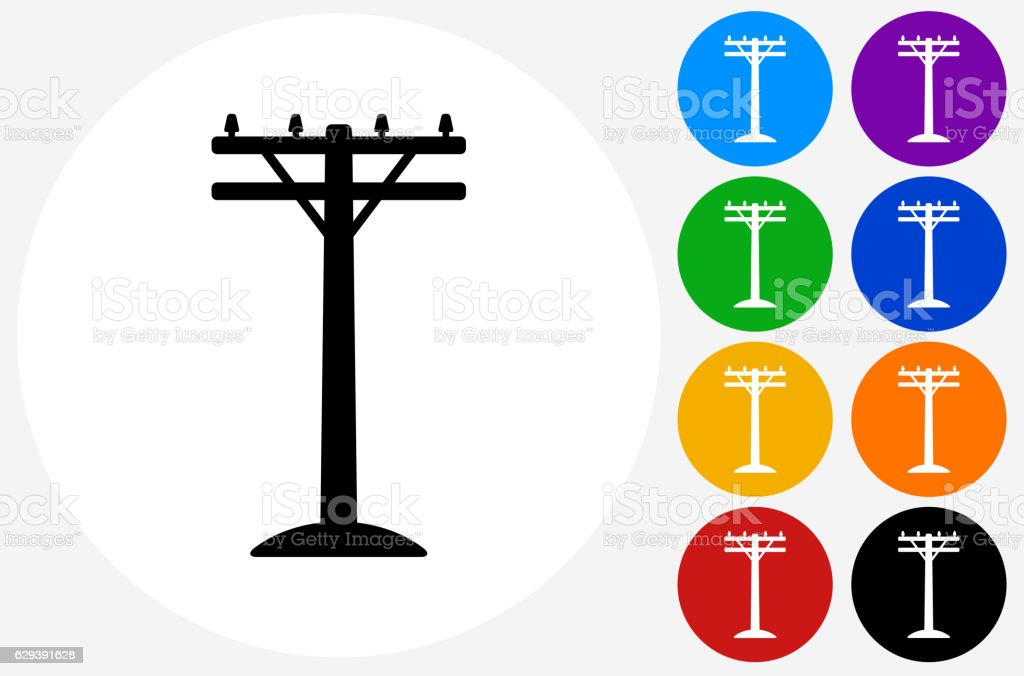 Electric Pole Icon on Flat Color Circle Buttons vector art illustration