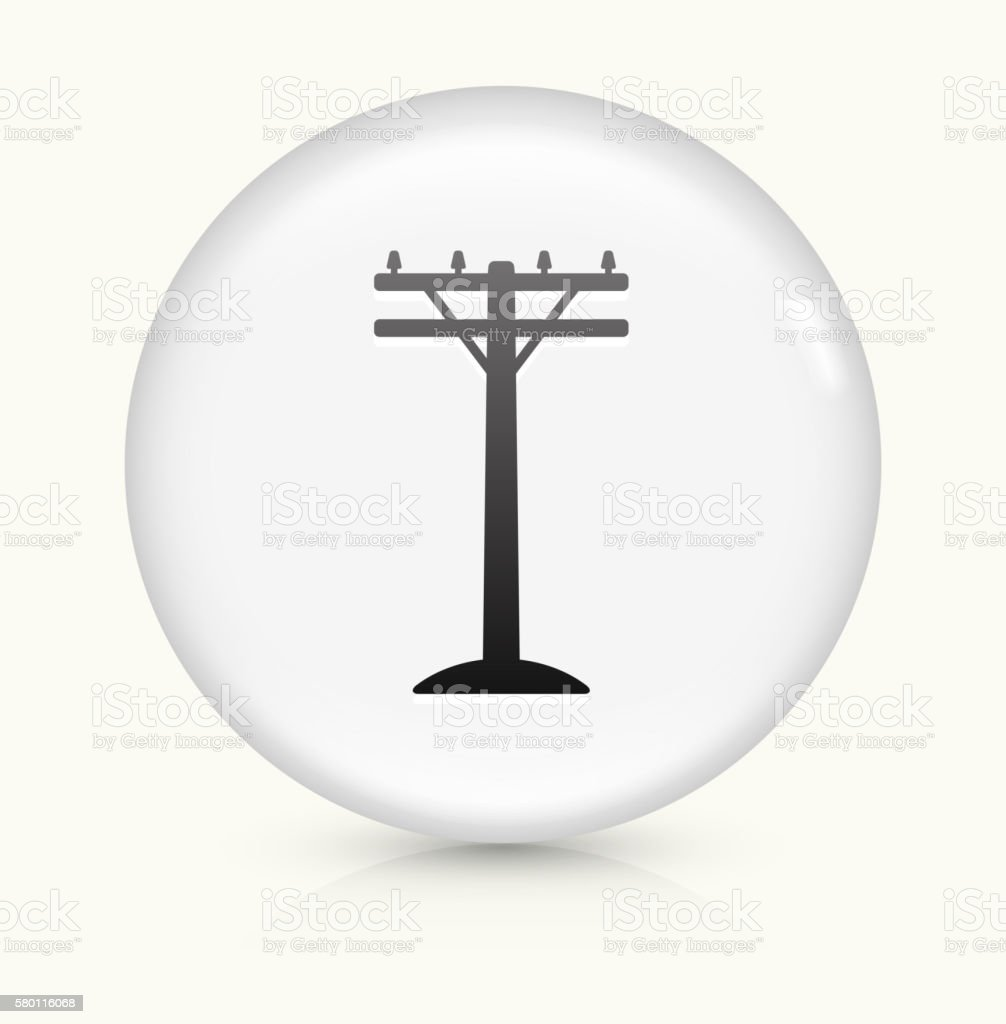 Electric Pole icon on white round vector button vector art illustration