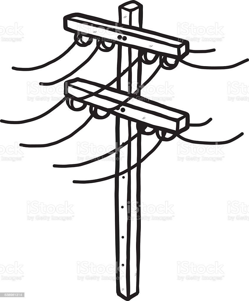 Free Line Art Converter : Poteau électrique stock vecteur libres de droits