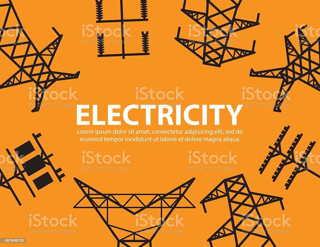 electric post,high voltage equipment background vector art illustration