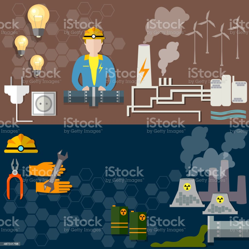 Electric power, nuclear energy, oil worker, coal mining, banners vector art illustration