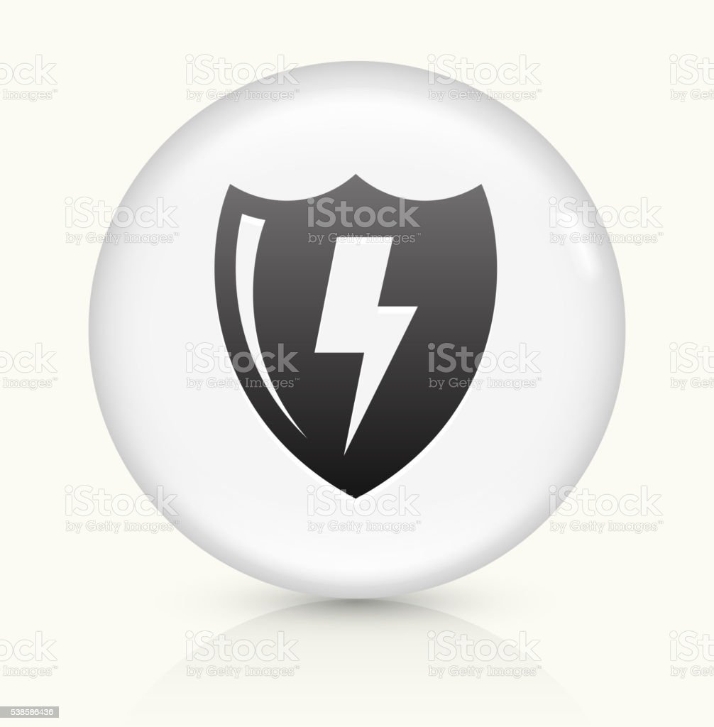 Electric Shield icon on white round vector button vector art illustration