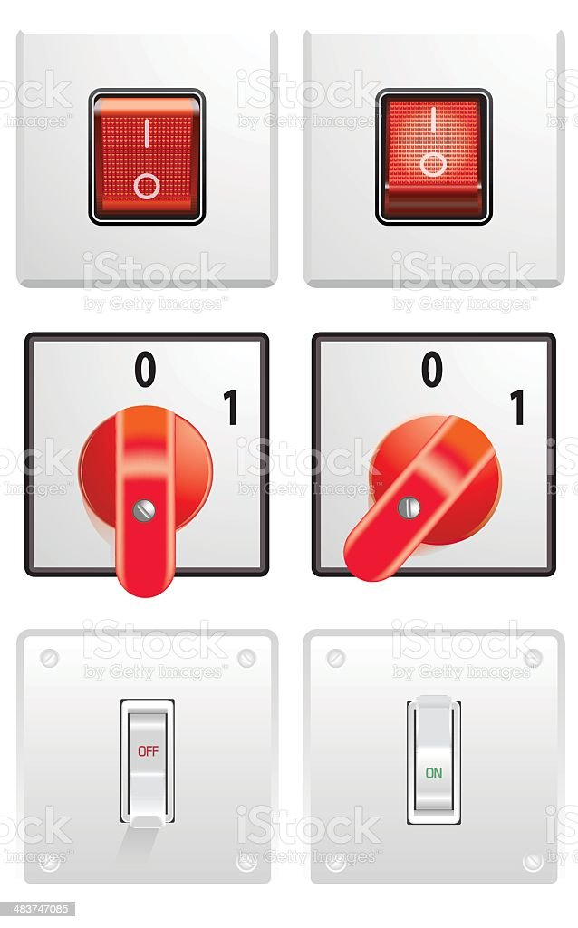 Electric Switches vector art illustration