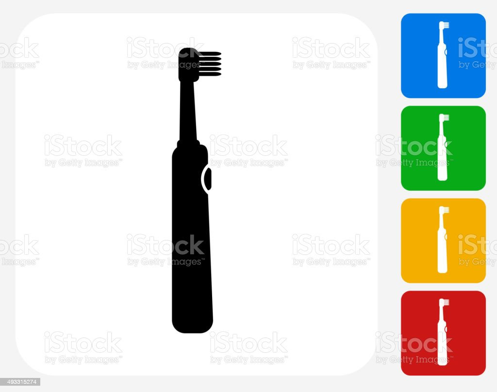 Electric Toothbrush Icon Flat Graphic Design vector art illustration
