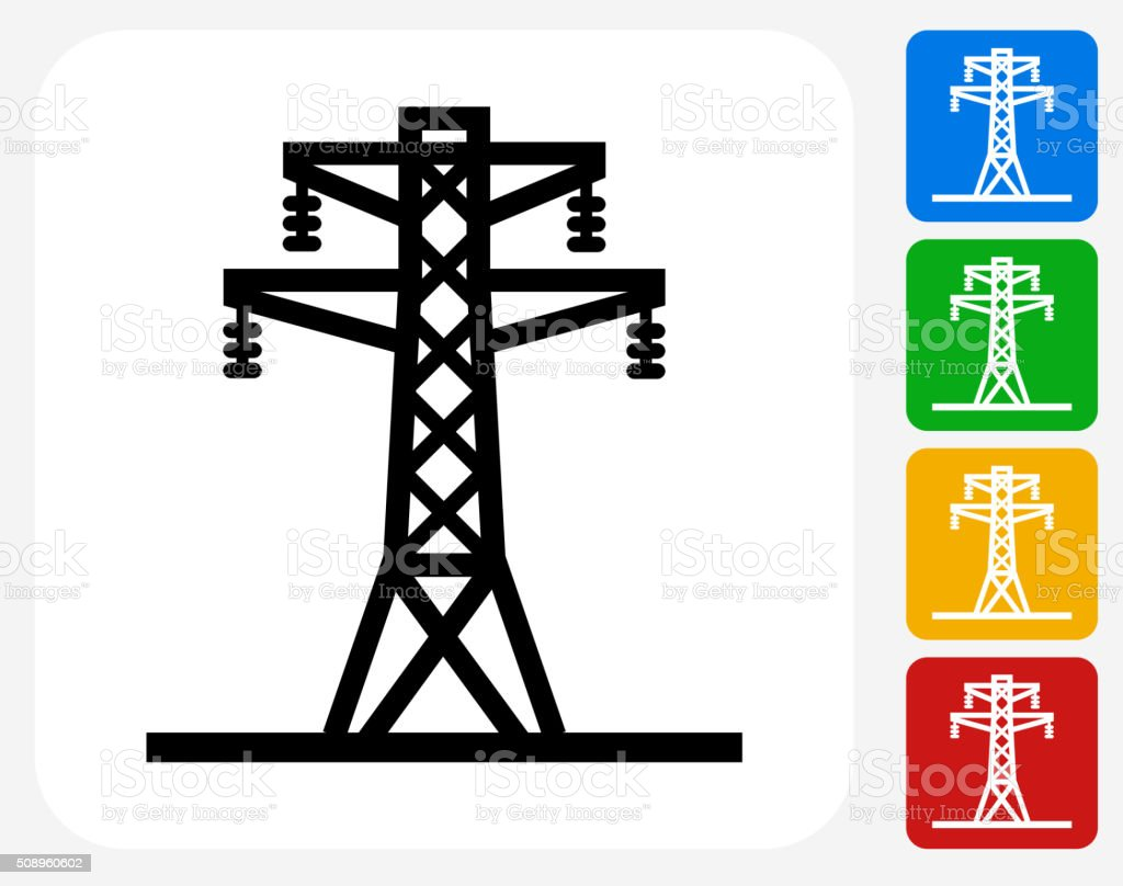 Electric Tower Icon Flat Graphic Design vector art illustration