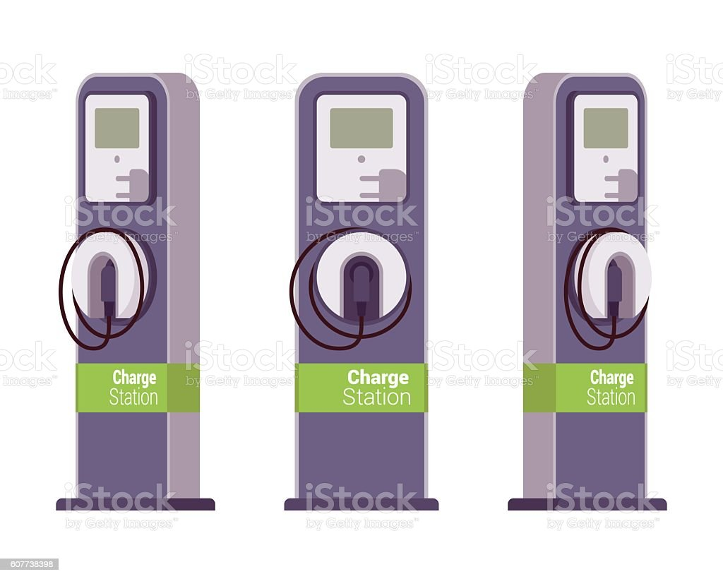 Electric vechle charging station vector art illustration