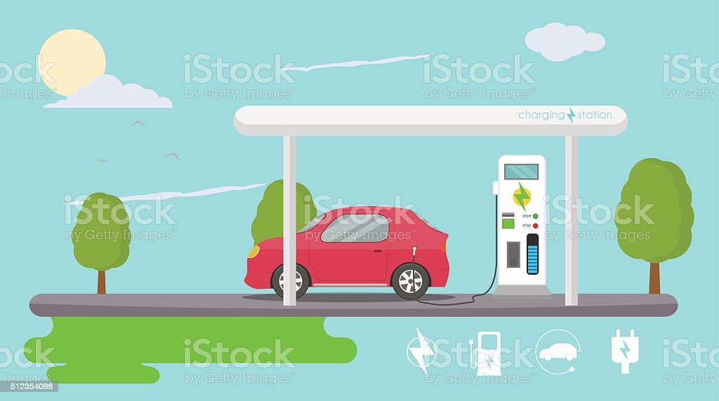 Electric vehicle charging vector art illustration