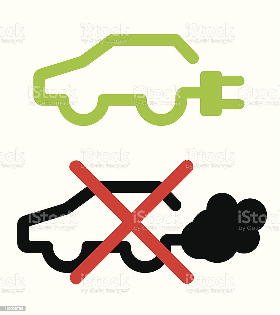 electric vs. fossil fuel car icon vector art illustration
