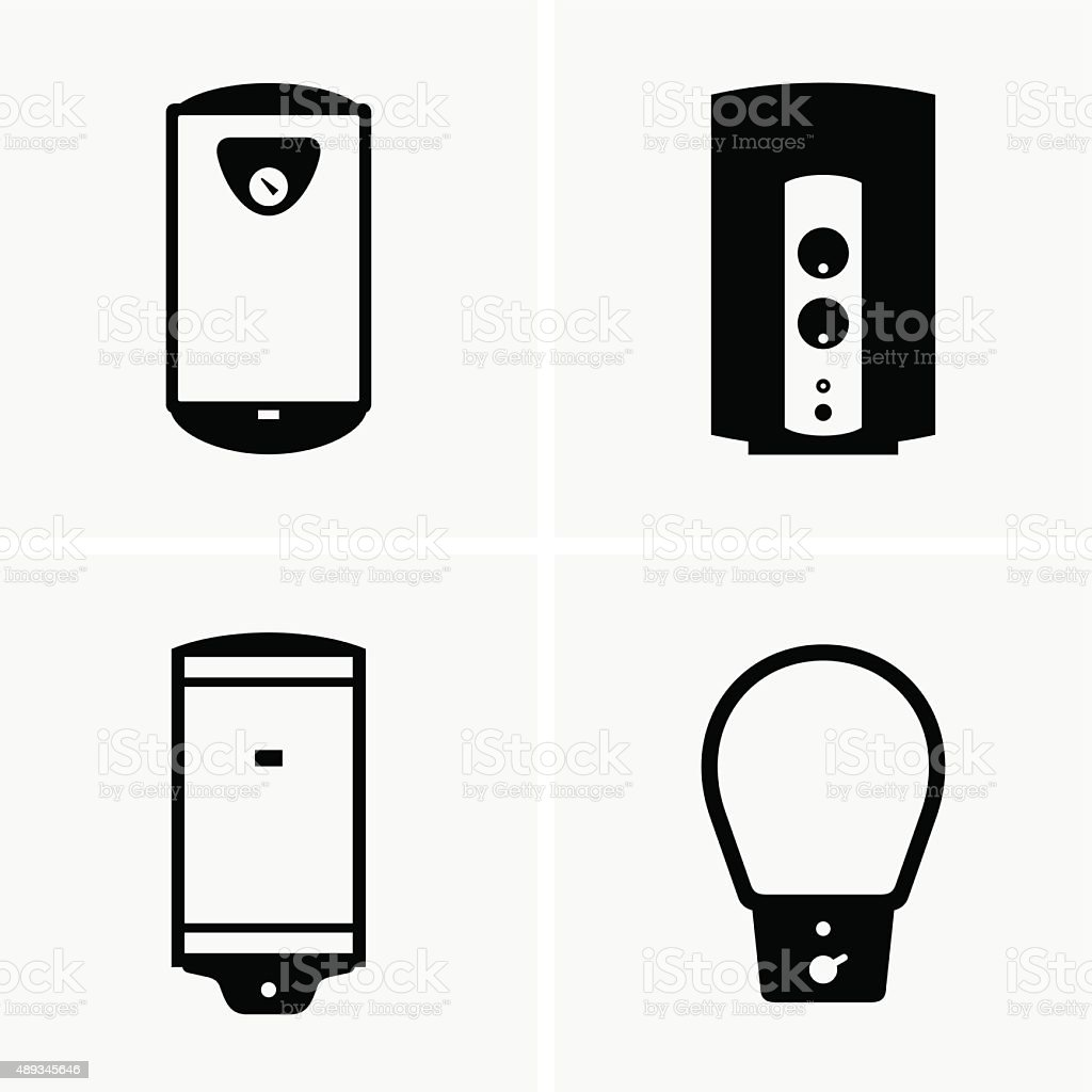 Electric water heaters vector art illustration