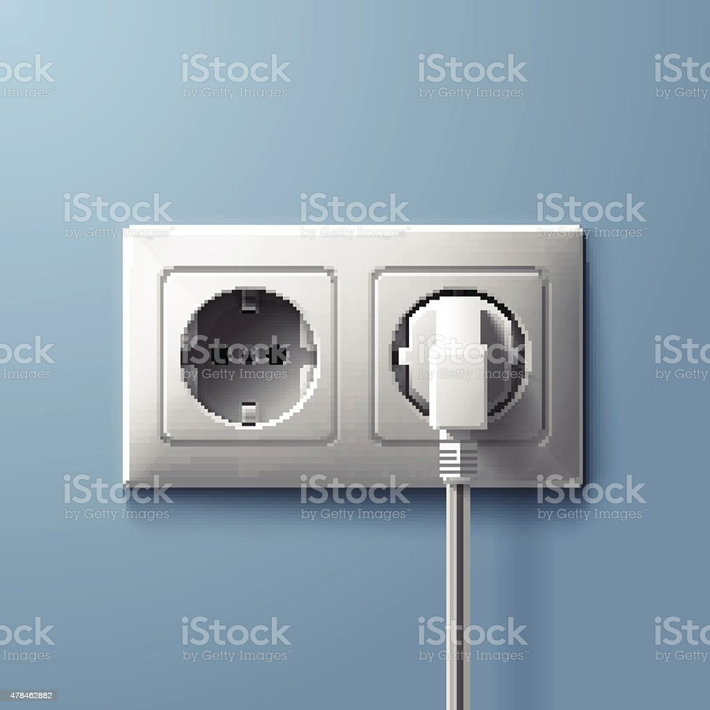 Electric white plug and socket on blue wall background vector art illustration