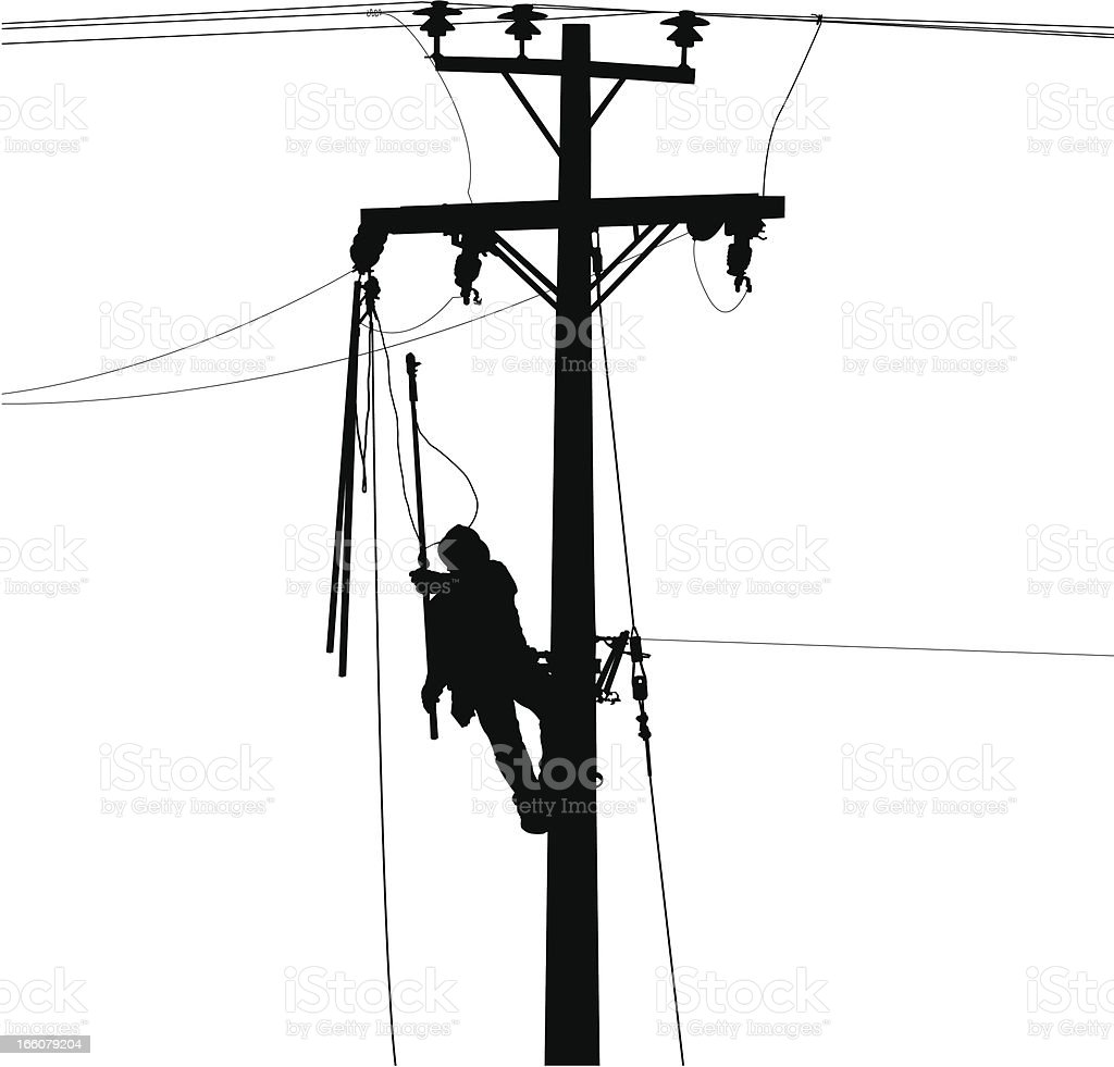 electric worker and power lines silhouette royalty-free stock vector art