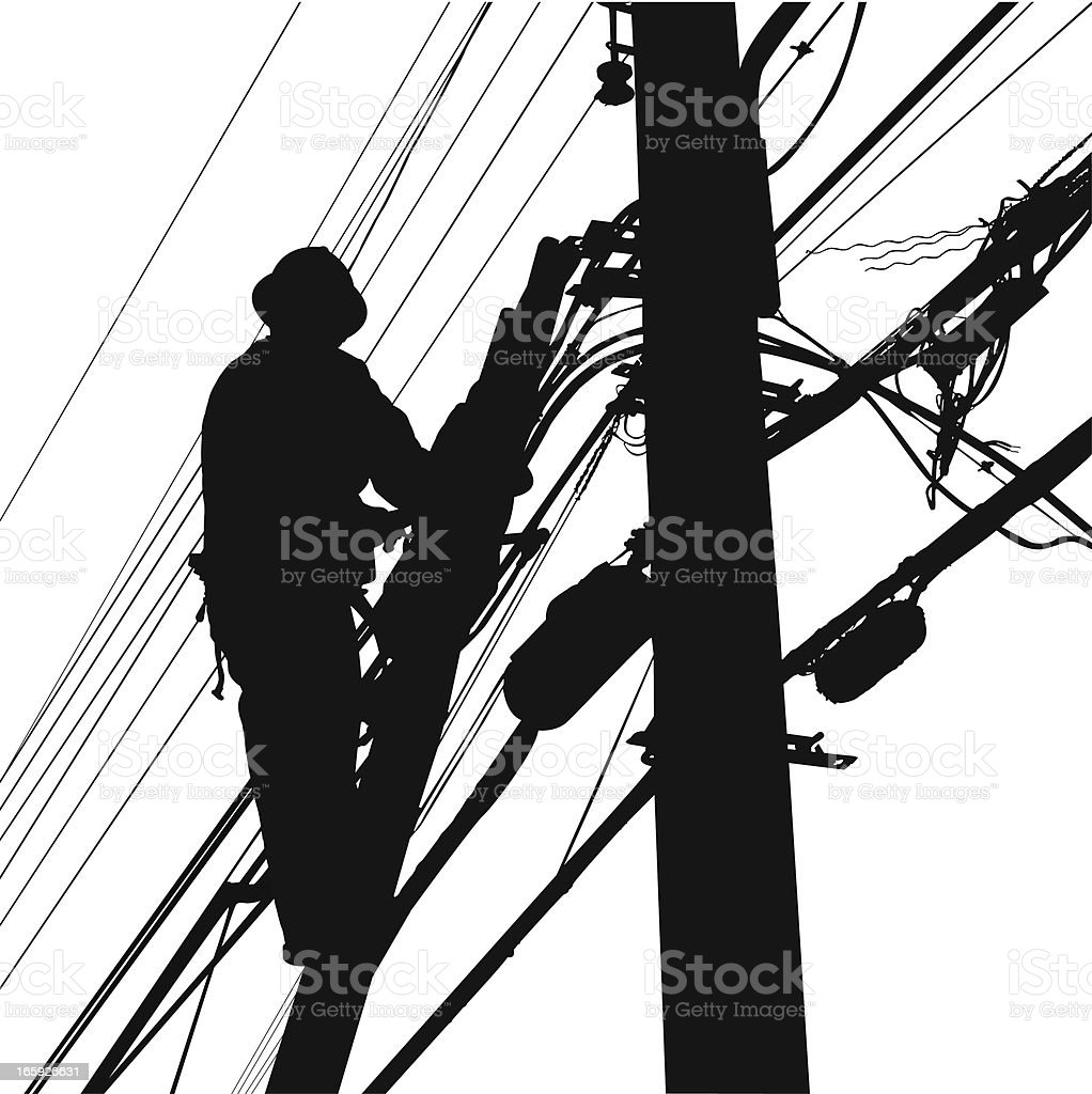 electric worker silhouette royalty-free stock vector art