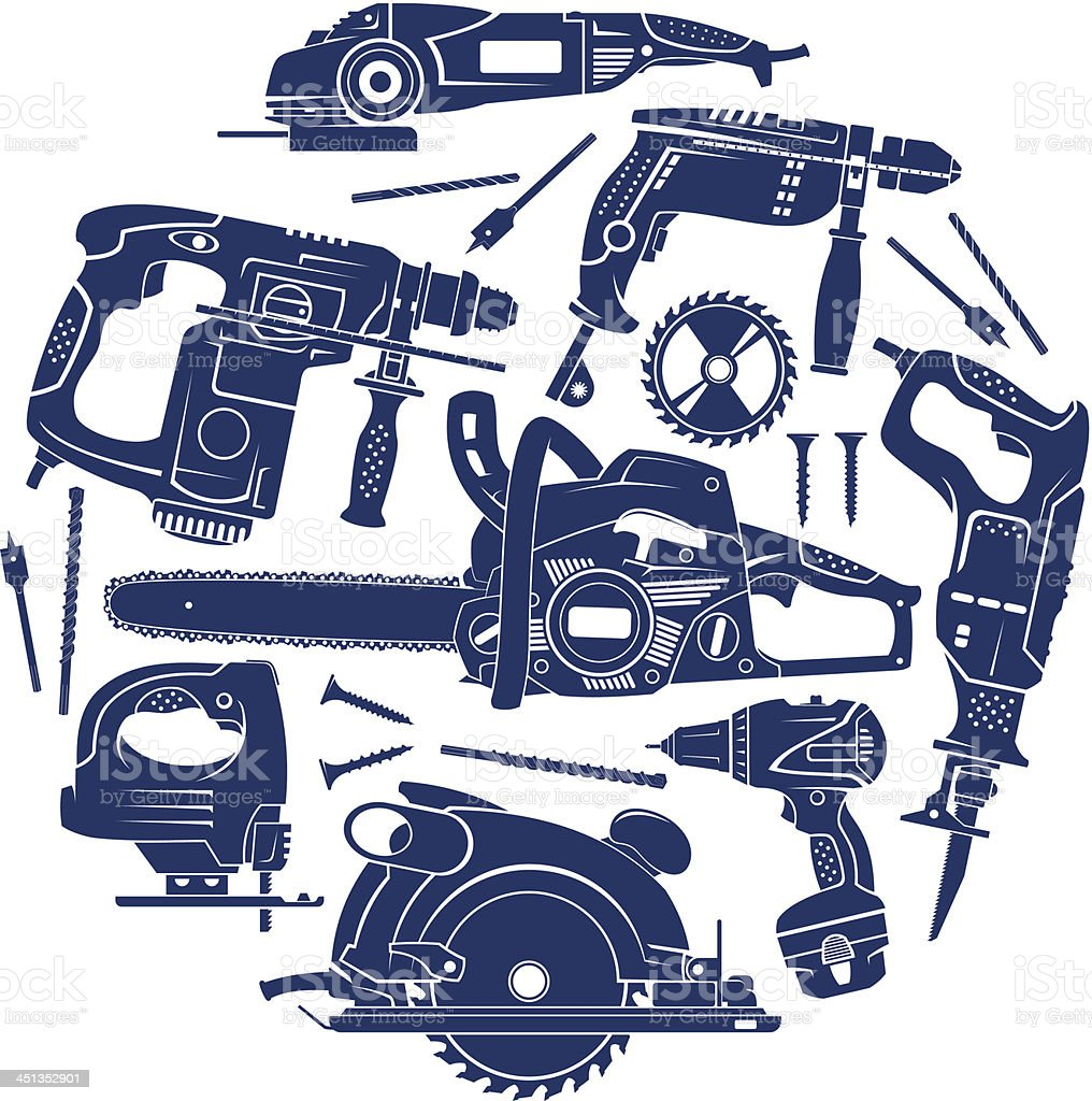 Electric working tools set vector art illustration