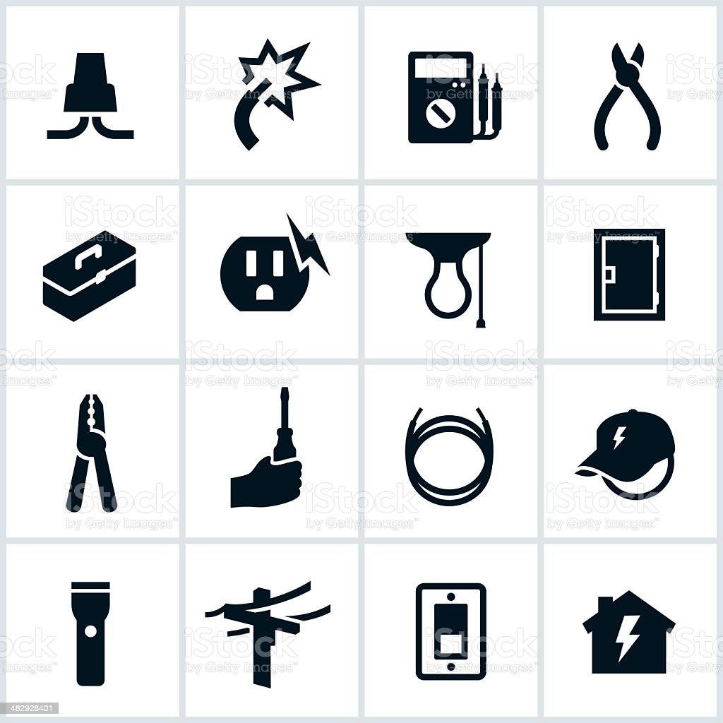 Electrical and Electrician Icons vector art illustration