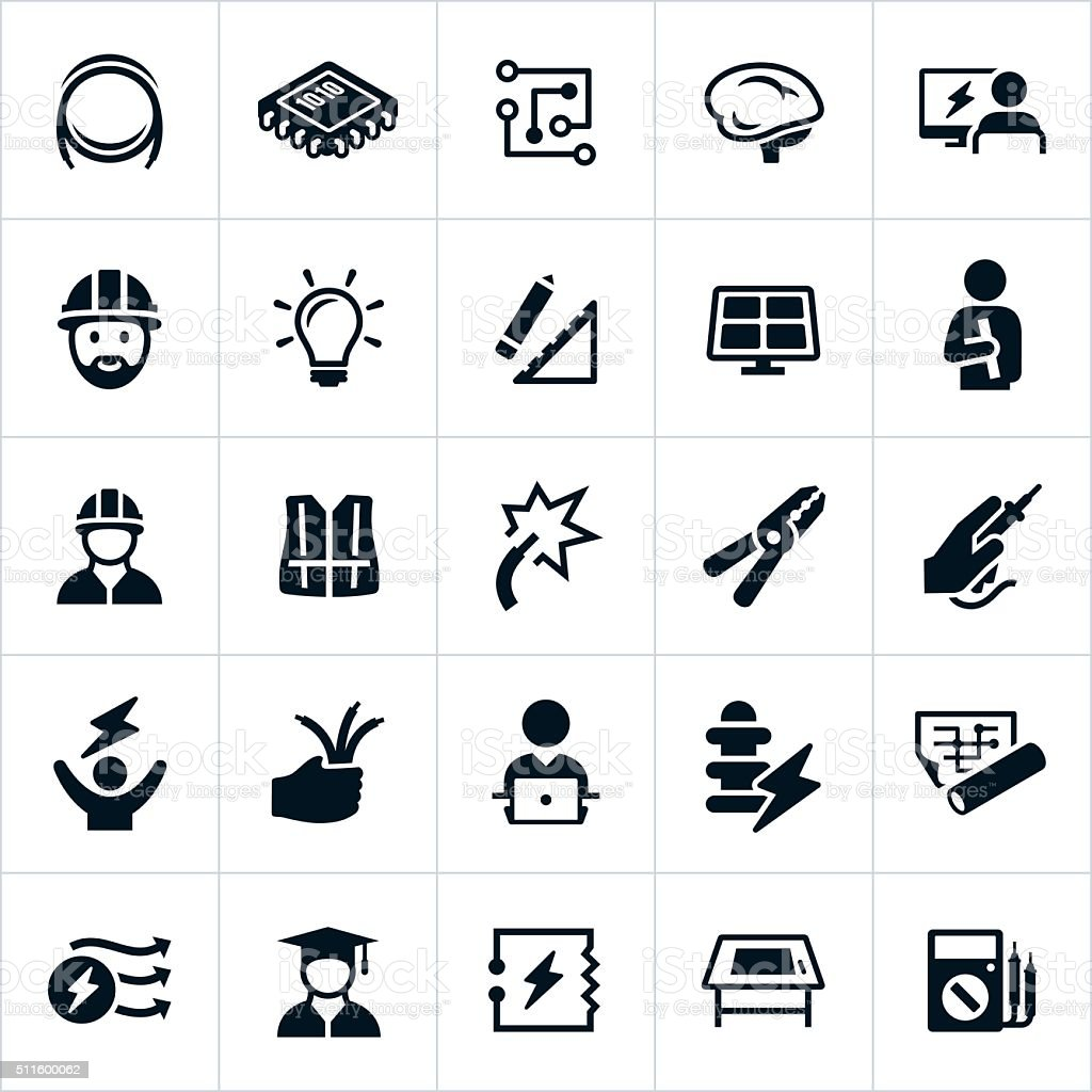 Electrical and Electronics Engineering Icons vector art illustration