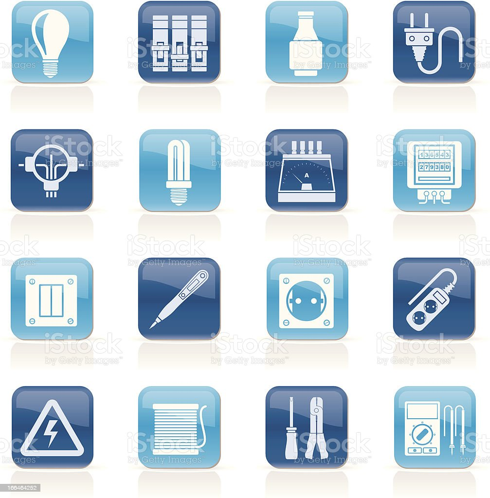 Electrical devices and equipment icons royalty-free stock vector art