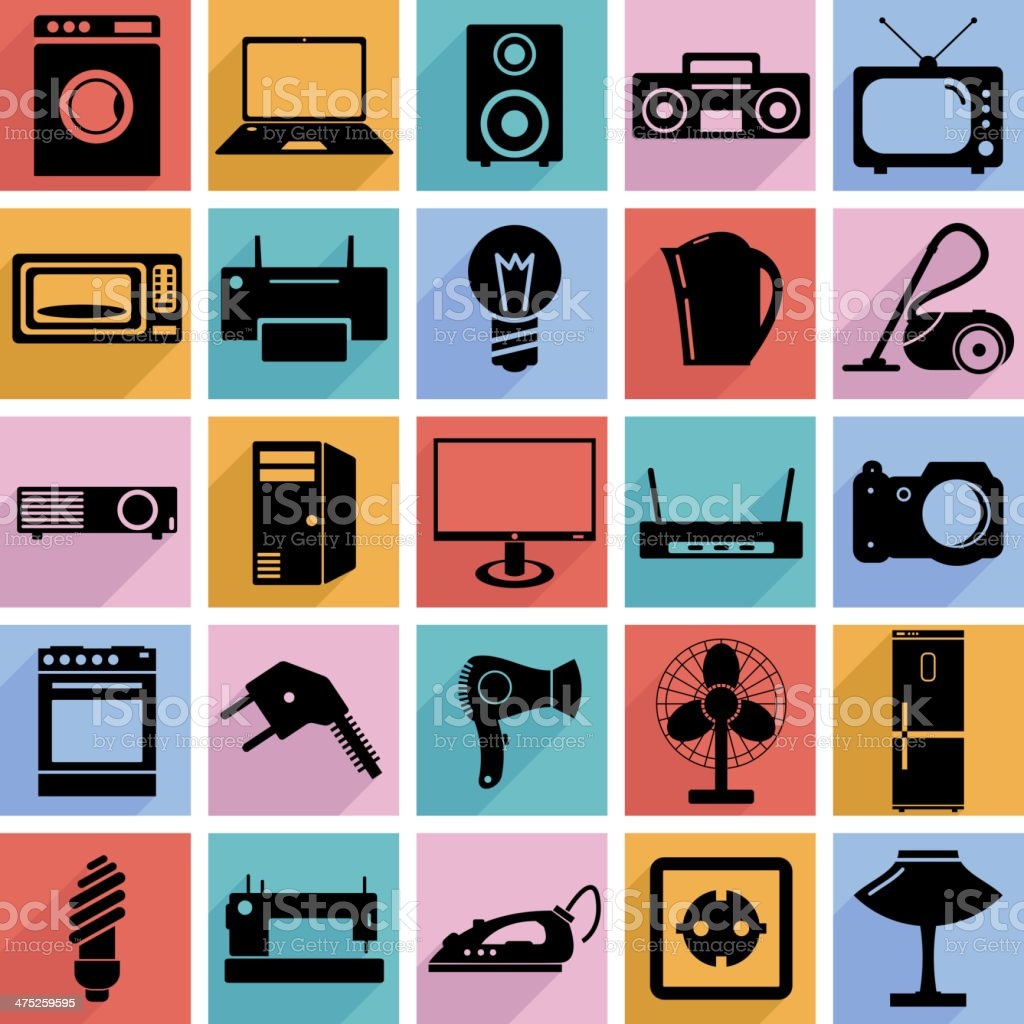 Electrical devices symbols. royalty-free stock vector art
