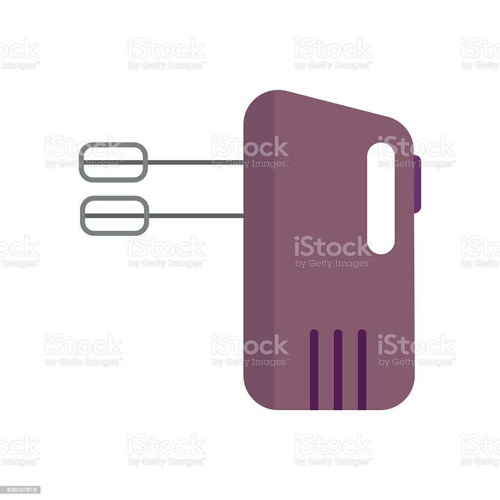 Electrical hand mixer and dishware isolated vector illustration. vector art illustration
