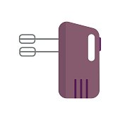 Electrical hand mixer and dishware isolated vector illustration.