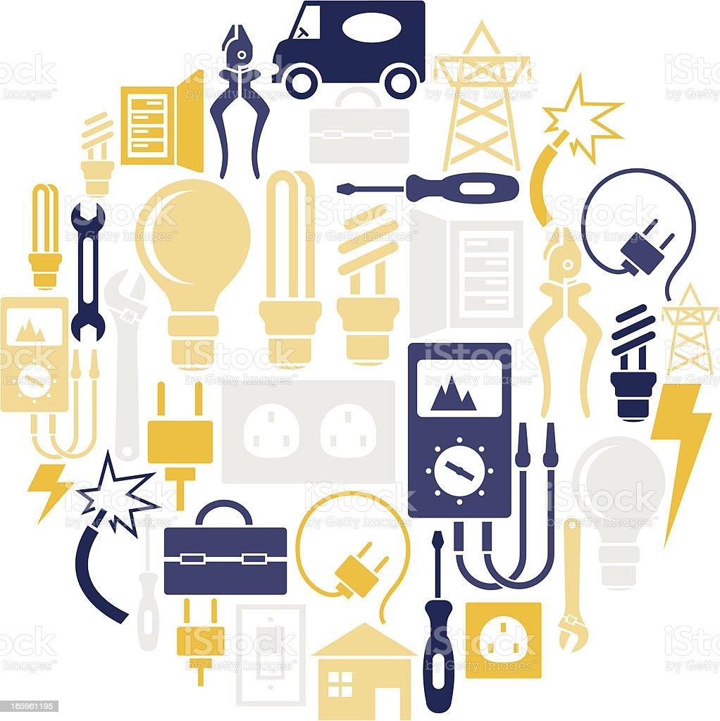Electrical Icon Set vector art illustration