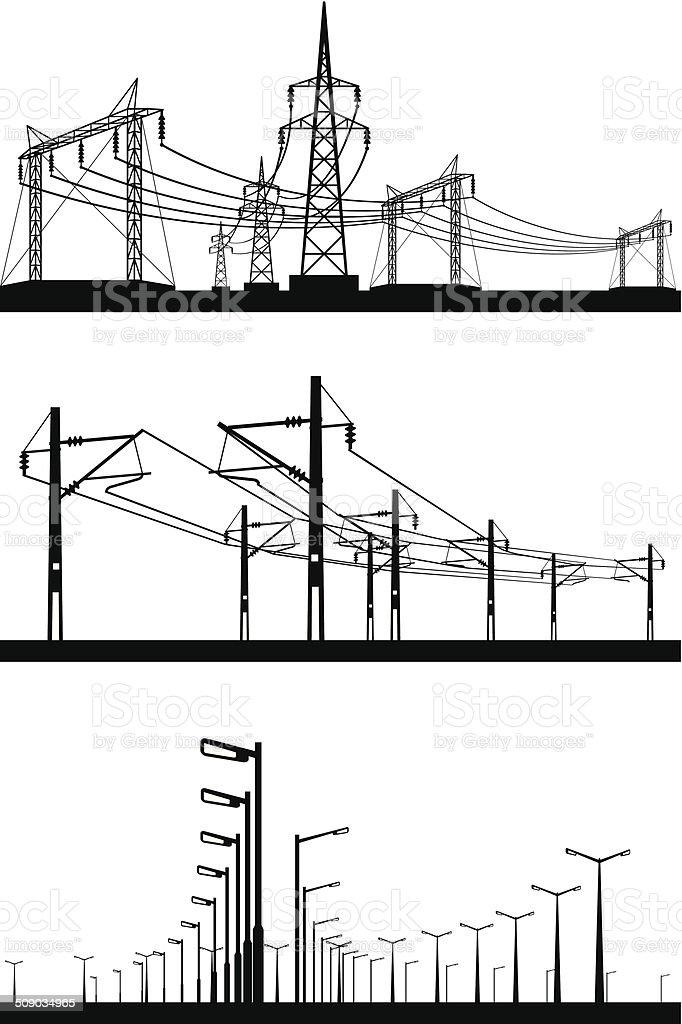 Electrical installations set vector art illustration
