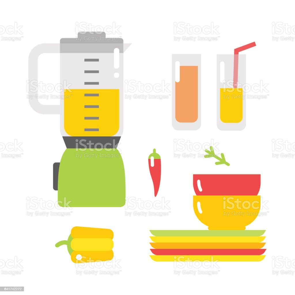 Electrical mixer and dishware isolated vector illustration vector art illustration