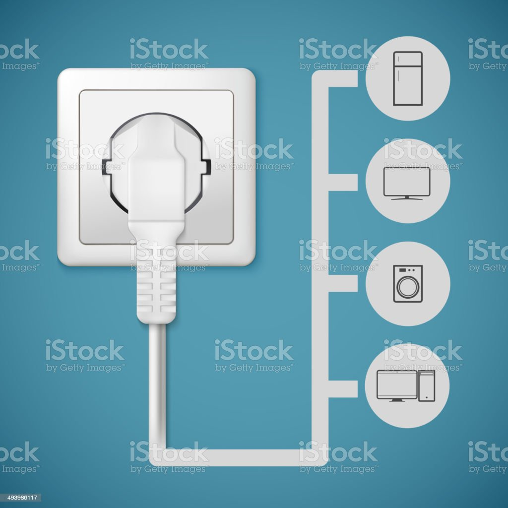 Electrical plug closeup vector art illustration